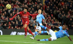 Mo Salah scores against Manchester City at Anfield.