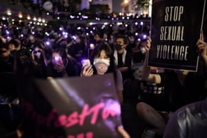 People take part in a #MeToo rally in Hong Kong to protest alleged sexual assaults by police against anti-government female protesters.