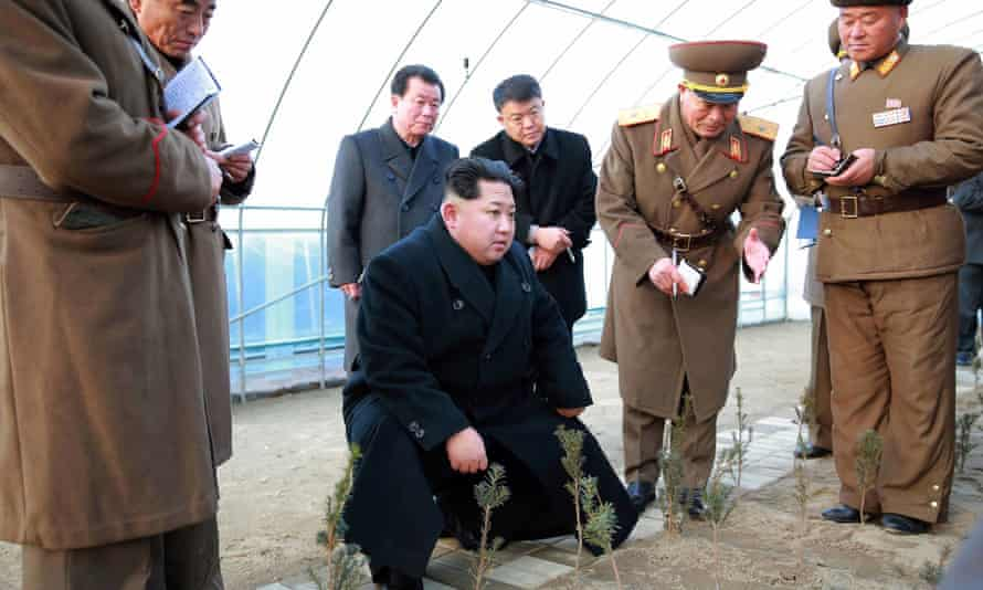 Kim Jong-un inspecting the 122 tree nursery plant of the Korean People's Army (KPA) at an undisclosed location in North Korea.