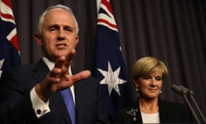 Prime minister designate Malcolm Turnbull and Julie Bishop at a press conference in the Blue Room of Parliament House in Canberra this evening, Monday 14th September 2015.