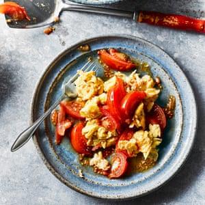 Stir fried eggs with tomatoes. (Fan Qie Chao Dan) by Fuchsia Dunlop. The Observer's 20 best tomato recipes supplement. Food Stylist: Kim Morphew Prop stylist: Tamzin Ferdinando