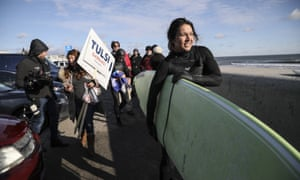 Tulsi Gabbard, D-Hawaii, surfed in Hampton, New Hampshire.