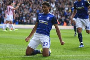 Birmingham City midfielder Jude Bellingham celebrates after given them the lead.