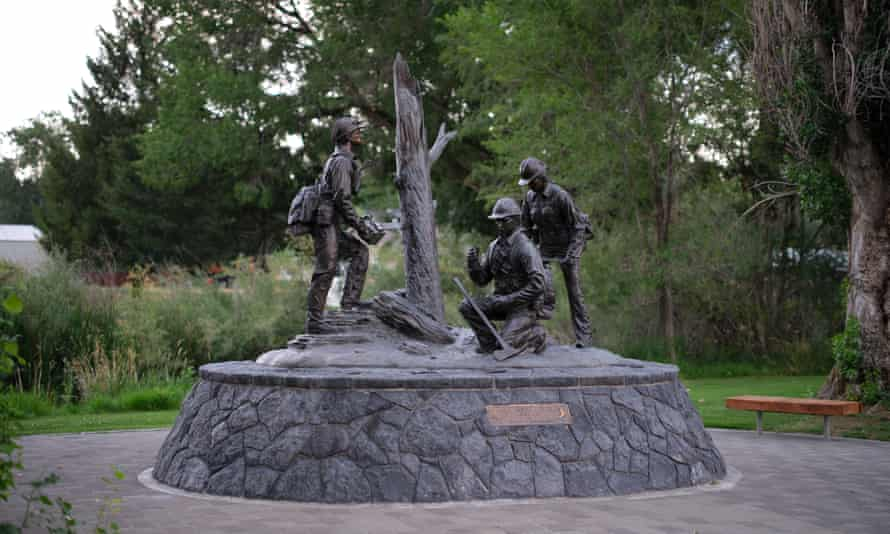 A monument dedicated to the Prineville hotshots. The 1994 wildfire killed 14 firefighters on Storm King mountain.