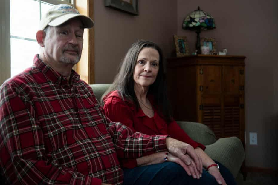Terri Burl, chair of the Forest county GOP, right, and her husband, Randy, at home in Crandon.