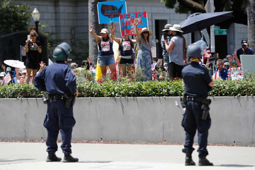 Protesters demonstrate outside the State Capitol for the complete reopening of California in Sacramento on Thursday.