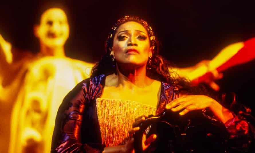 Jessye Norman as Ariadne/The Prima Donna in the final dress rehearsal of Ariadne auf Naxos at the Metropolitan Opera house, New York, in 1993.