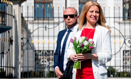 Čaputová, the president-elect, arrives for a interview with Czech TV in the front of the presidential palace in Bratislava.