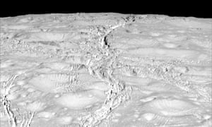 Image from Cassini, on 14 October 2015, showing the surface of Enceladus (at the north pole) about 4,000 miles from the spacecraft.