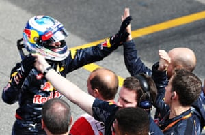 Daniel Ricciardo and his Red Bull crew are pleased with their second place finish.
