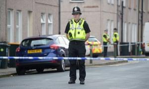 Police at the scene in Jeffrey Street, Newport