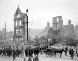 Photograph showing the effects of the Irish war of independence in Cork, December 1920. Photograph: Walter Doughty for the Guardian