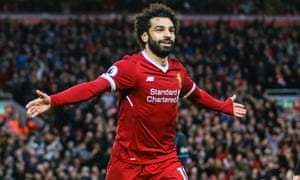 Mohamed Salah celebrates scoring his second goal for Liverpool against Southampton at Anfield.