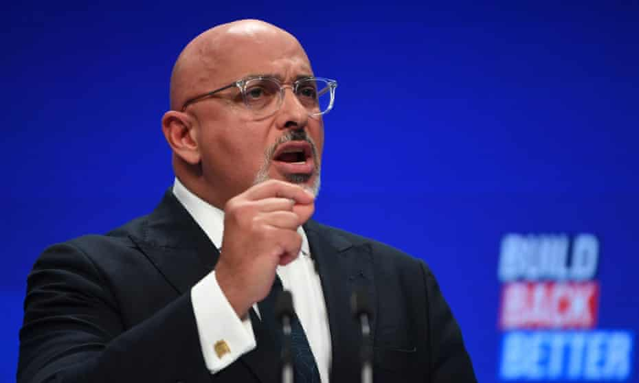 Nadhim Zahawi delivers a speech at the Conservative party conference in Manchester.