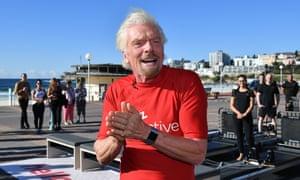 Richard Branson on Bondi Beach in Sydney