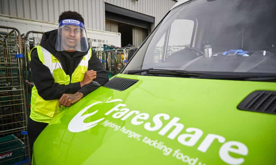 Marcus Rashford visiting the food poverty charity FareShare in Manchester last month.