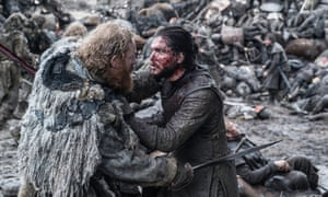 Kristofer Hivju as Tormund and Kit Harington as Jon Snow in the award-winning Game of Thrones episode, The Battle of the Bastards.