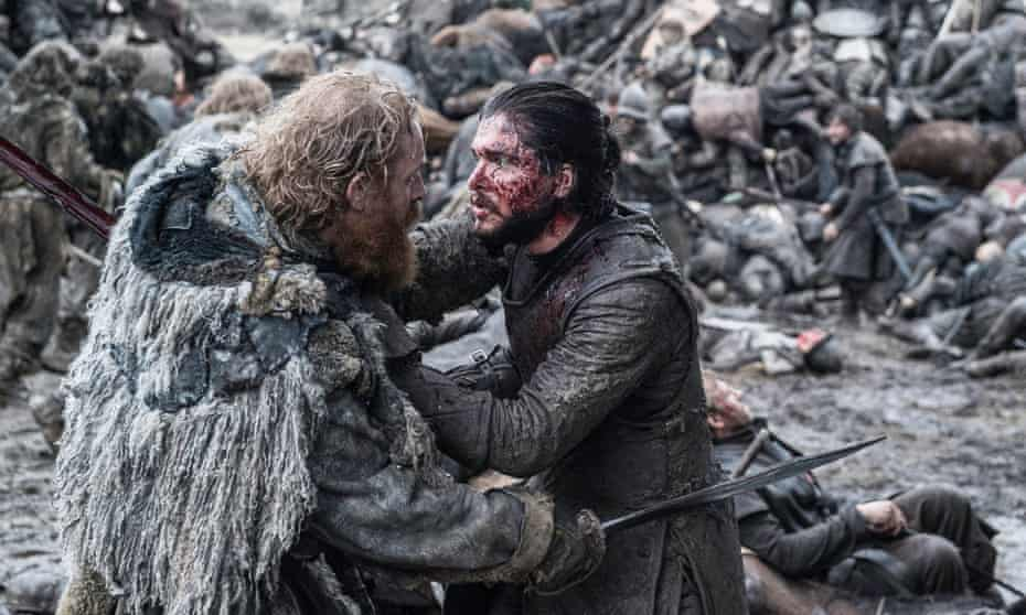 Kristofer Hivju as Tormund and Kit Harington as Jon Snow in the award-winning Game of Thrones episode, The Battle of the Bastards.