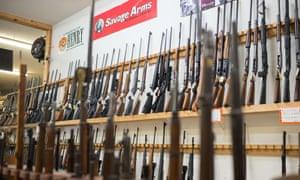 Weapons on display at Roseburg Gun Shop in Roseburg, Oregon.