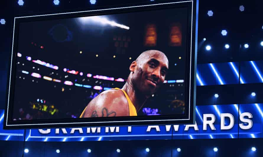 A photo of late NBA legend Kobe Bryant is seen during the 62nd Annual Grammy Awards in Los Angeles.