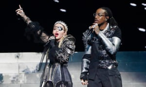 Madonna and Quavo performing at Eurovision in Tel Aviv.