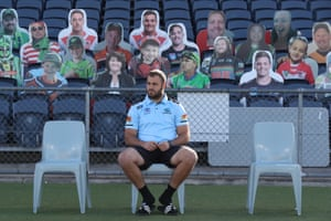 Sydney, Australia, Wade Graham of the Cronulla Sutherland Sharks sits in front of cutouts of supporters