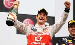 Jenson Button celebrates his dramatic victory at the 2011 Canadian Grand Prix in Montreal, one of his 15 Formula One victories