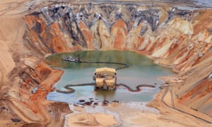 An aerial view of the Enterprise Sand Mine on North Stradbroke Island, south-east of Brisbane in Australia.