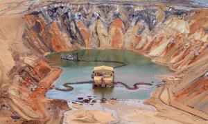 An aerial view of the Enterprise Sand Mine on North Stradbroke Island, south-east of Brisbane in Australia.