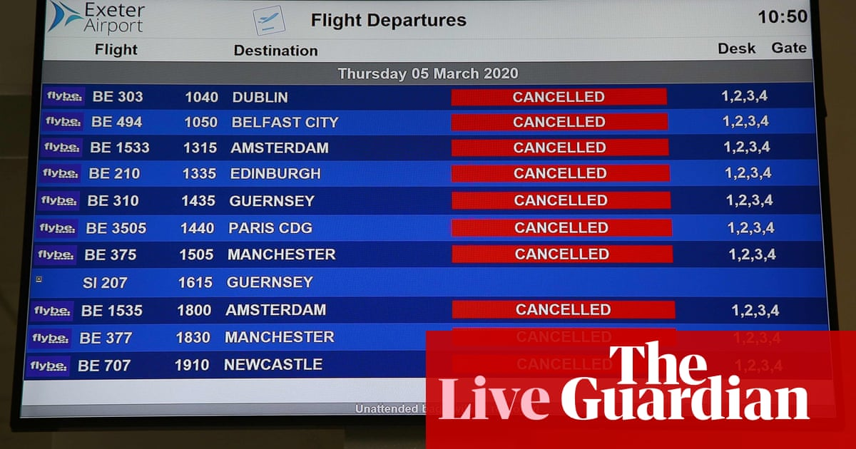 Coronavirus crisis drags down Flybe, as Wall Street slides again – business live