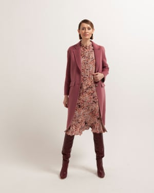 Marina wears paisley dress, £89, by And/Or from johnlewis.com. Coat, £119, marksandspencer.com. Boots, £370, joie.com