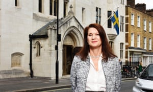 Ann Linde, Sweden's minister for EU affairs, outside the Swedish church in London