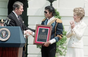 Who's bad? … Reagan gives a special achievement award to Michael Jackson in 1984, for supporting an anti-drink-drive campaign