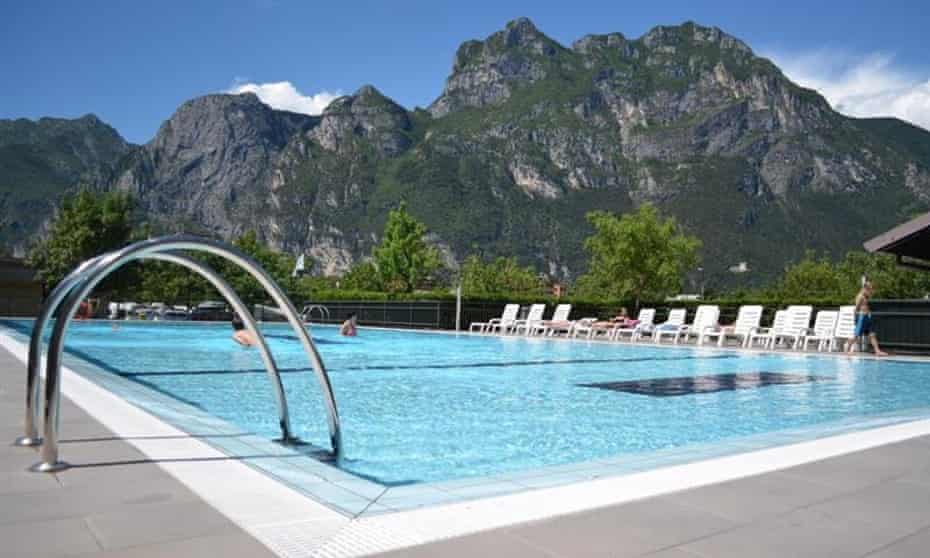 Pool and mountains, Camping Brione, Lake Garda,