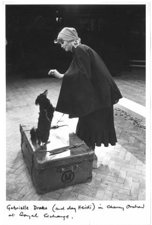 Gabrielle Drake (and dog Heidi) at Manchester's Royal Exchange in 1979, directed by Michael Boyd.