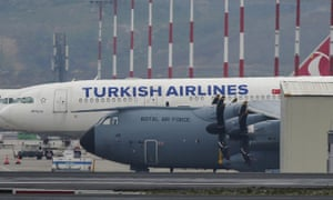 A British air force plane at Istanbul airport.