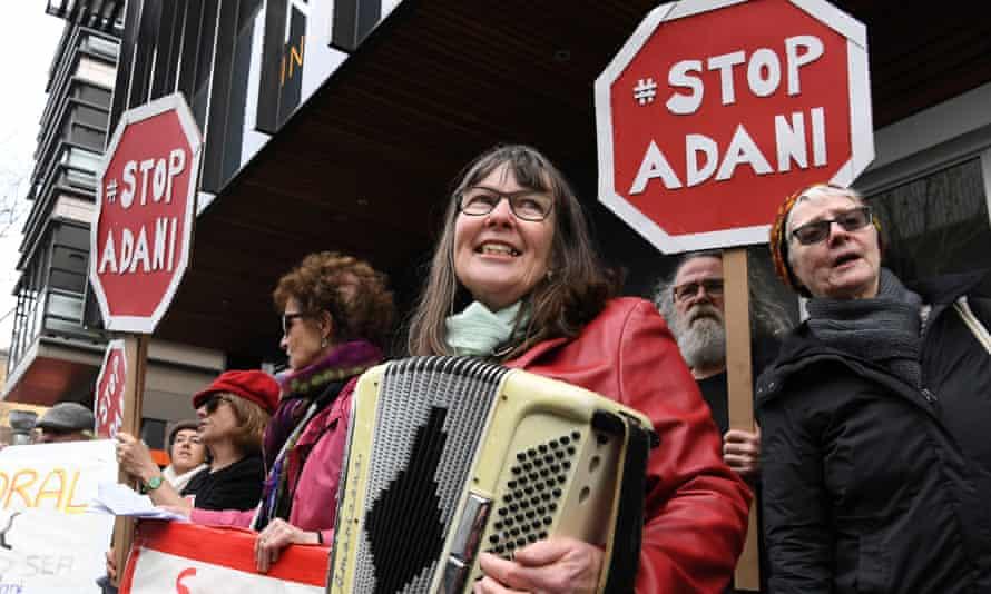 Anti-Adani protesters gather outside Bill Shorten's Melbourne office last year