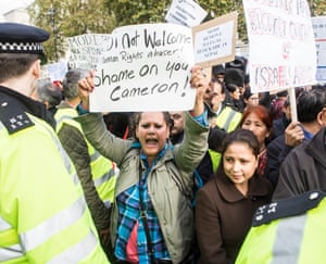 A protest outside No 10 last week against perceived human rights abuses by Indian PM Narendra Modi, who was visiting the UK.
