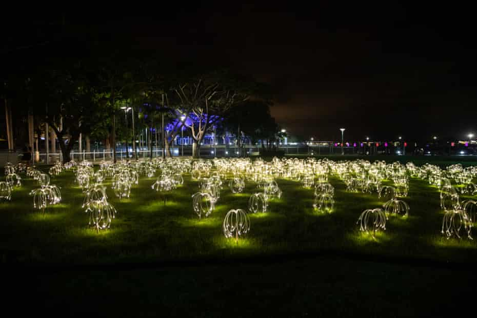 'Sun Lily' an illuminated sculpture installation in Darwin as part of Tropical Light.