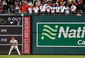 Washington Nationals fans greet Bryce Harper in right field
