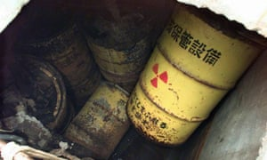 Steel barrels of low-level nuclear waste are buried in an underground waste storage pit in Tokaimura, Japan.