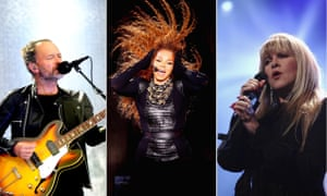 from left, Thom Yorke, Janet Jackson and Stevie Nicks
