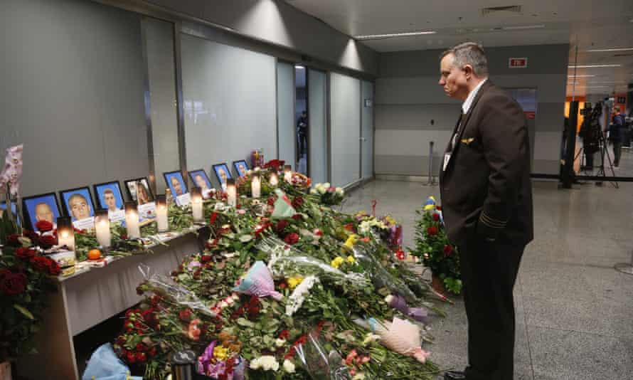 The tributes inside Boryspil international airport, Ukraine, for the flight crew of the crashed plane.