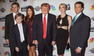 Eric, Barron, Melania, Donald, Ivanka and Donald Trump Jr at the Celebrity Apprentice final at Trump Tower, New York, February 2015