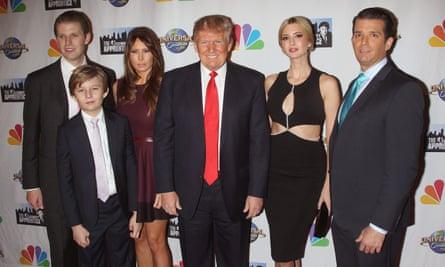 Eric, Barron, Melania, Donald, Ivanka and Donald Trump Jr at the Celebrity Apprentice final at Trump Tower, New York, February 2015
