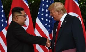 Kim Jong-un and Donald Trump meeting in Singapore