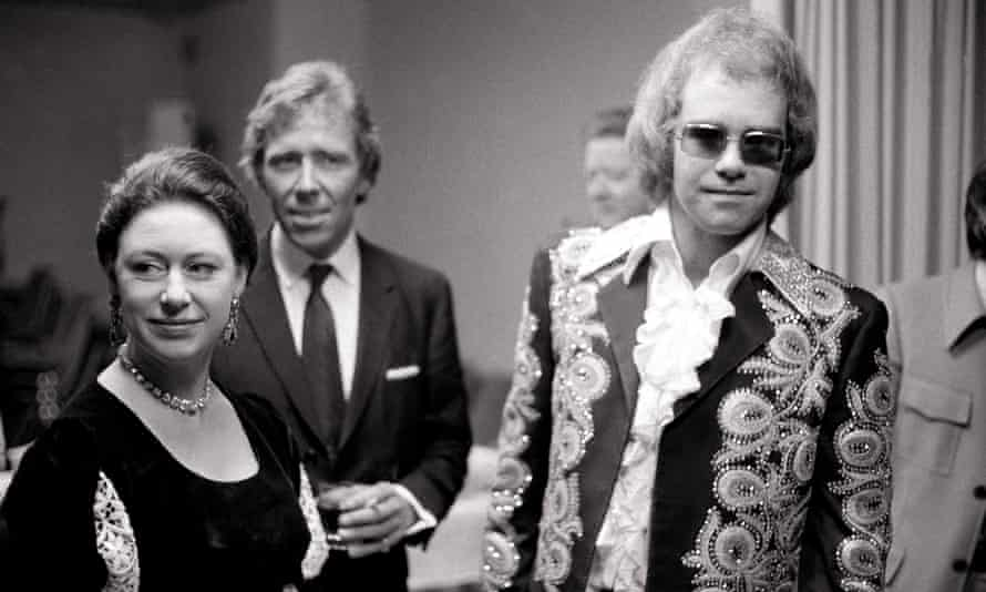 Margaret and Lord Snowdon with Elton John backstage at London's Shaw Theatre in 1972.