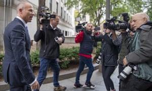 Michael Avenatti (left) outside Manhattan federal court last October