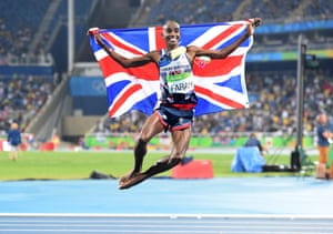 Mo Farah celebrates after winning the 5000m at the Rio Olympics