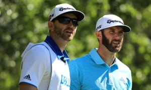 Eyes on the prize: Dustin Johnson (right) with his brother and caddie Austin Johnson at the World Golf Championships, Austin Country Club, Texas, March 2017.